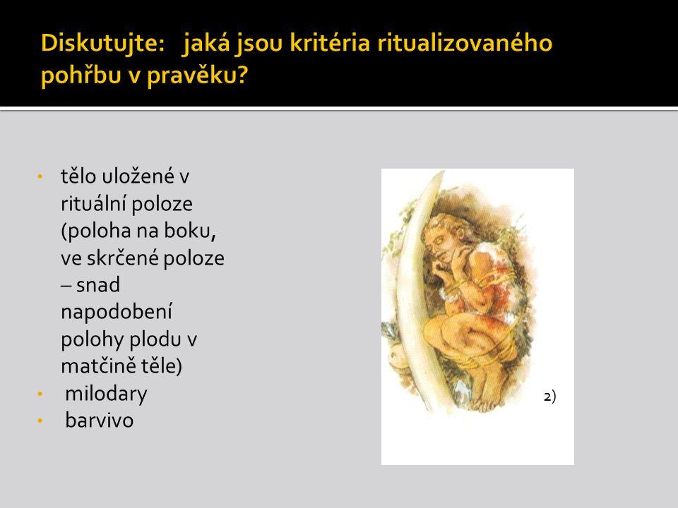 tělo uložené v rituální poloze (poloha na boku, ve skrčené poloze – snad napodobení polohy plodu v matčině těle) milodary barvivo 2)