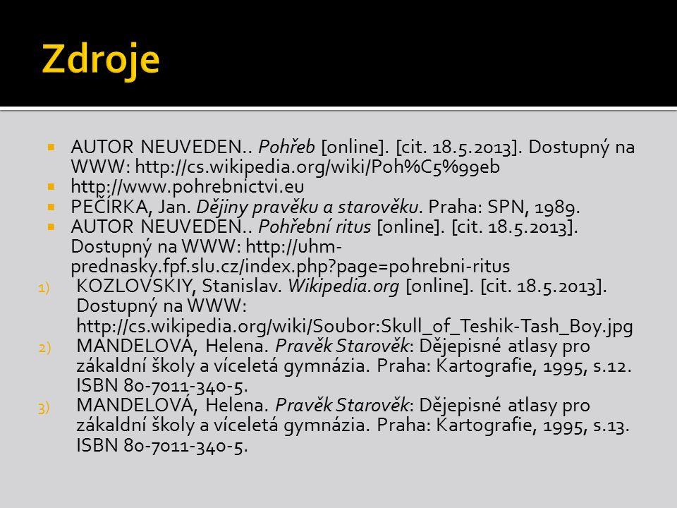  AUTOR NEUVEDEN.. Pohřeb [online]. [cit. 18.5.2013]. Dostupný na WWW: http://cs.wikipedia.org/wiki/Poh%C5%99eb  http://www.pohrebnictvi.eu  PEČÍRKA