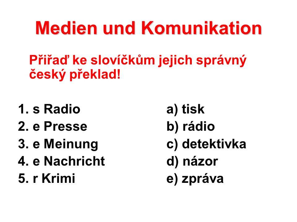 Medien und Komunikation Přiřaď ke slovíčkům jejich správný český překlad.