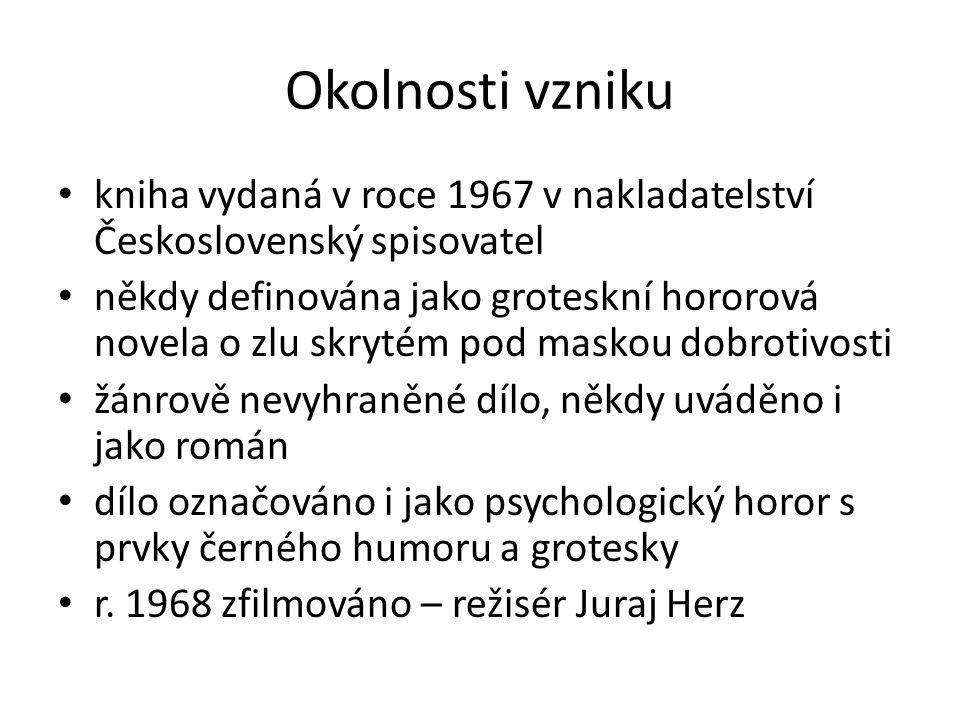 Okolnosti vzniku kniha vydaná v roce 1967 v nakladatelství Československý spisovatel někdy definována jako groteskní hororová novela o zlu skrytém pod