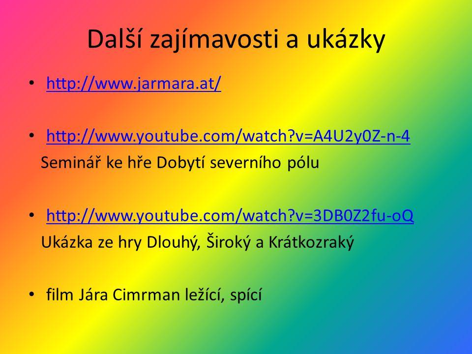 Další zajímavosti a ukázky http://www.jarmara.at/ http://www.youtube.com/watch?v=A4U2y0Z-n-4 Seminář ke hře Dobytí severního pólu http://www.youtube.c