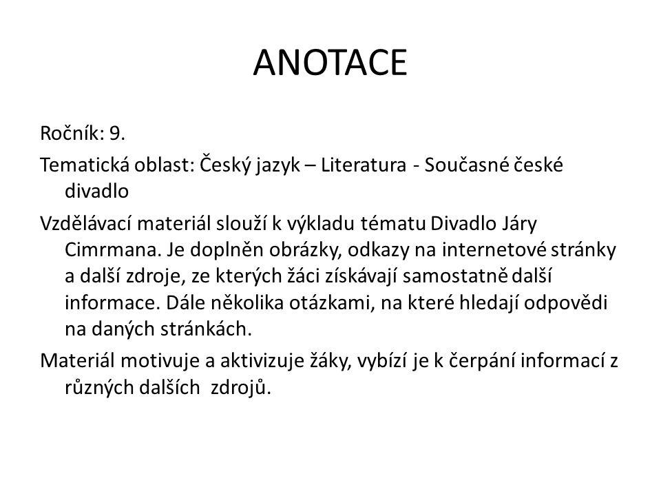 ANOTACE Ročník: 9.