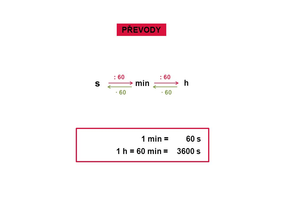 PŘEVODY s min h : 60 · 60 1 min = 60 s 1 h = 60 min = 3600 s