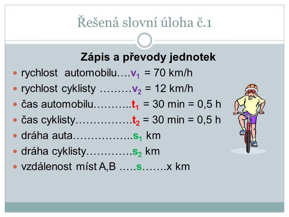 Zápis a převody jednotek rychlost automobilu….v 1 = 70 km/h rychlost cyklisty ………v 2 = 12 km/h čas automobilu………..t 1 = 30 min = 0,5 h čas cyklisty…………….t 2 = 30 min = 0,5 h dráha auta……………..s 1 km dráha cyklisty………….s 2 km vzdálenost míst A,B.….s…….x km