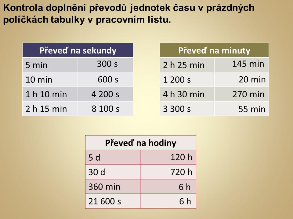 Kontrola doplnění převodů jednotek času v prázdných políčkách tabulky v pracovním listu.