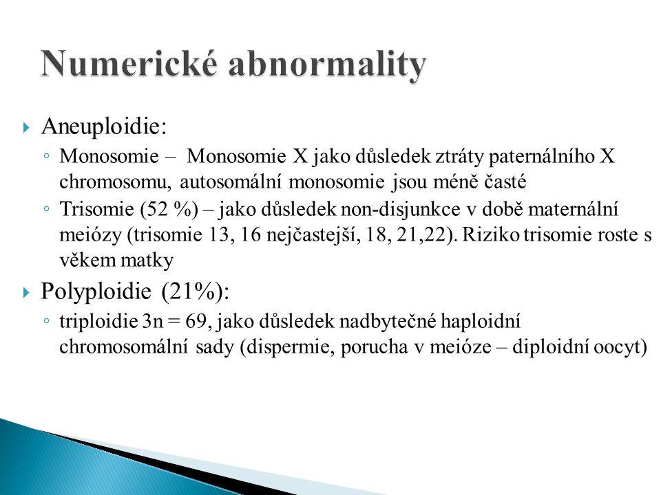  Aneuploidie: ◦ Monosomie – Monosomie X jako důsledek ztráty paternálního X chromosomu, autosomální monosomie jsou méně časté ◦ Trisomie (52 %) – jak
