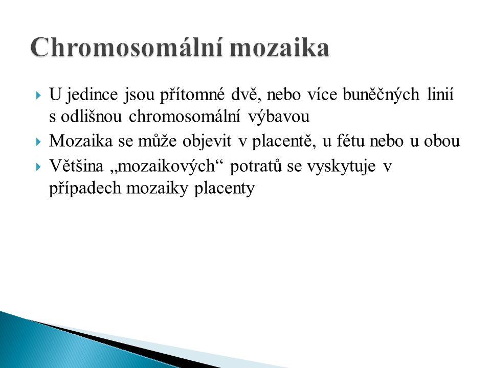  U jedince jsou přítomné dvě, nebo více buněčných linií s odlišnou chromosomální výbavou  Mozaika se může objevit v placentě, u fétu nebo u obou  V