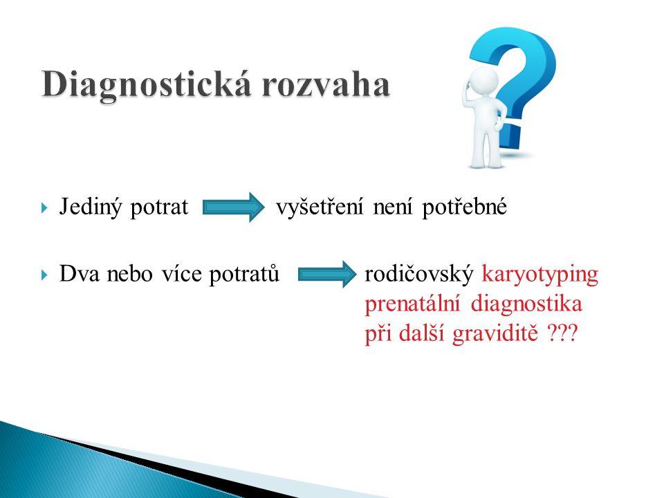  Jediný potrat vyšetření není potřebné  Dva nebo více potratů rodičovský karyotyping prenatální diagnostika při další graviditě