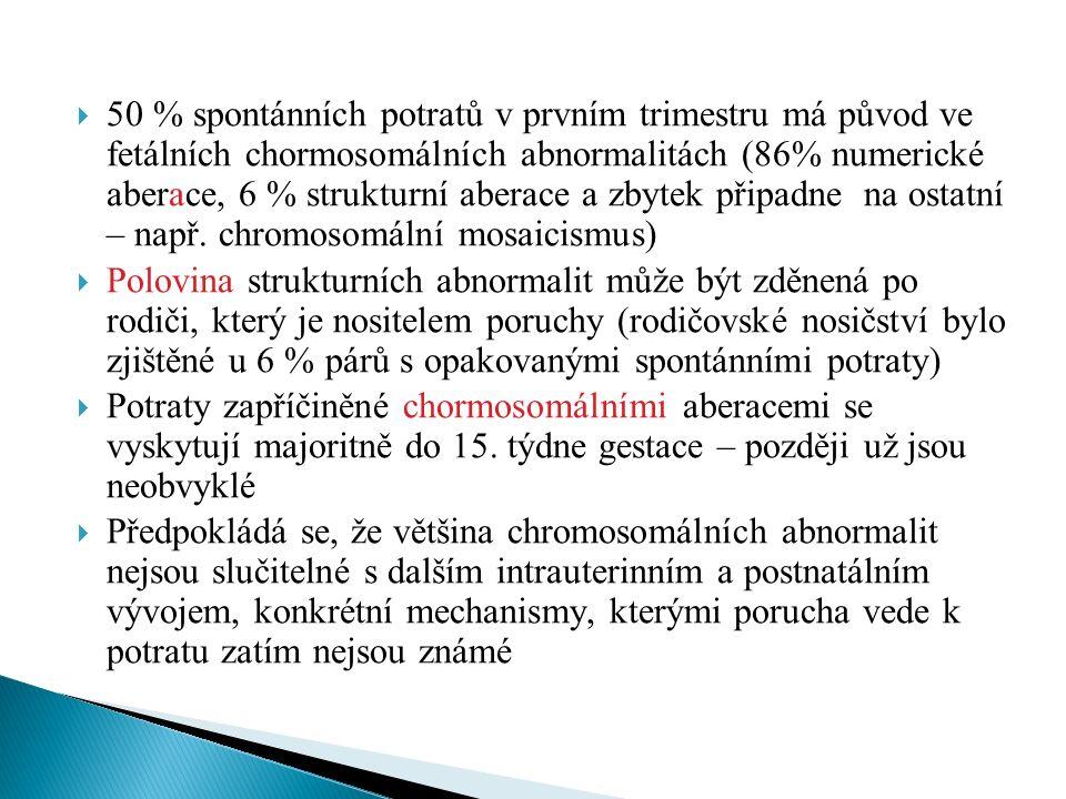  50 % spontánních potratů v prvním trimestru má původ ve fetálních chormosomálních abnormalitách (86% numerické aberace, 6 % strukturní aberace a zbytek připadne na ostatní – např.