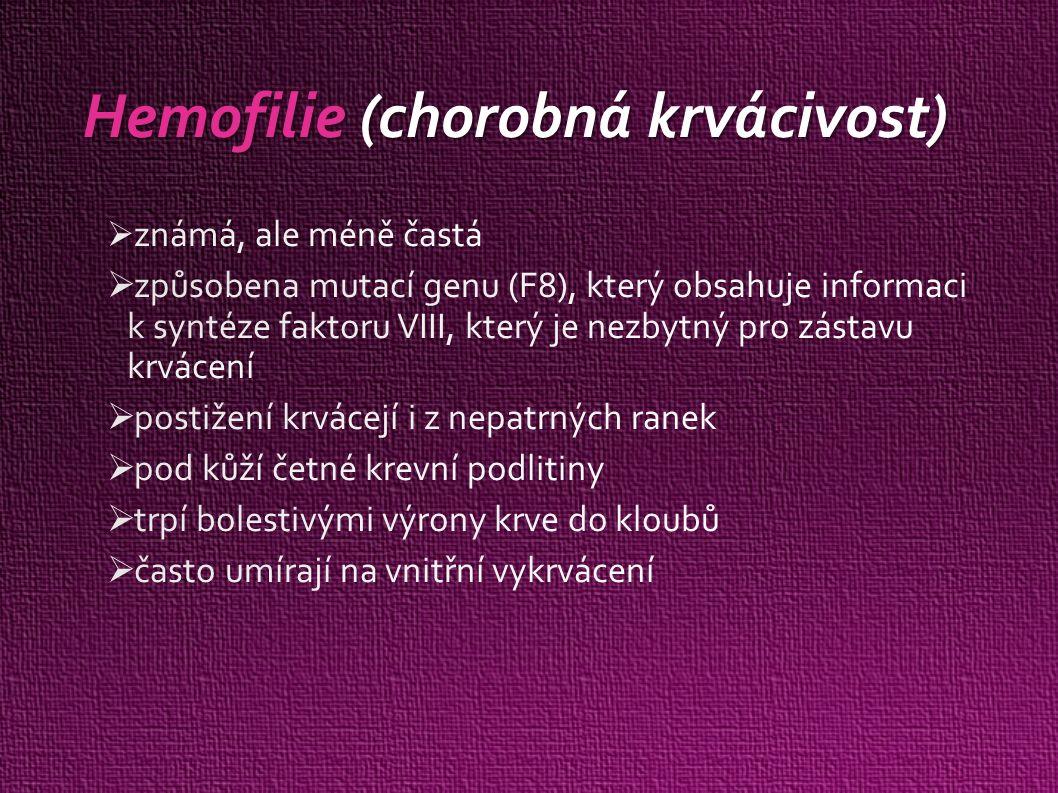 Hemofilie (chorobná krvácivost)