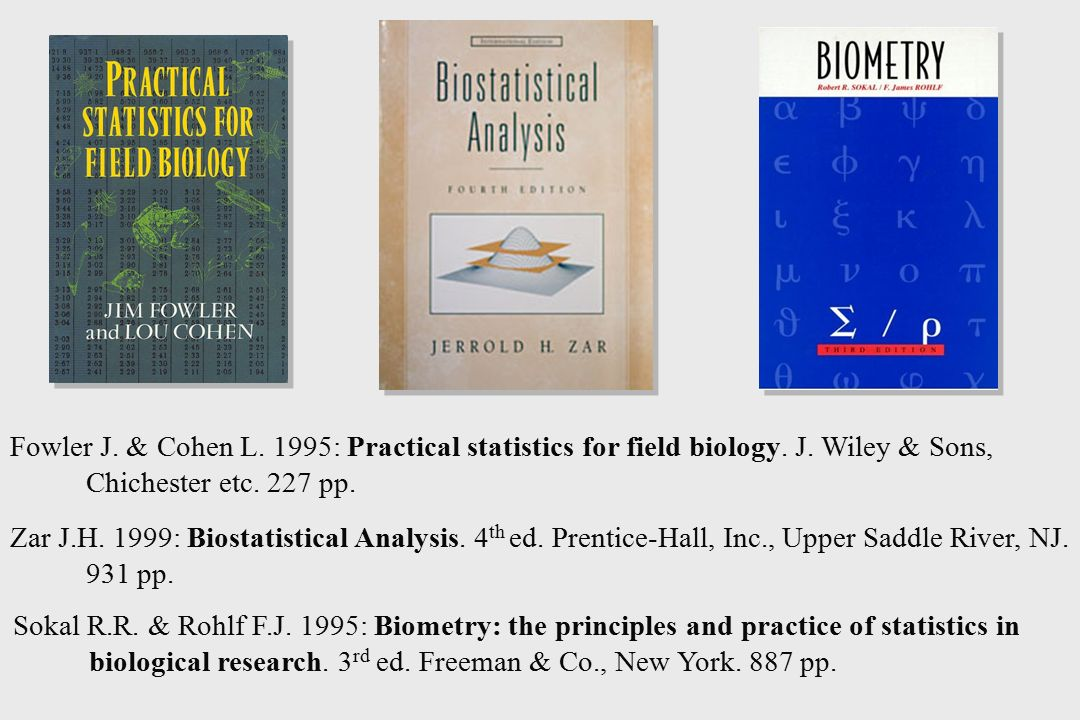 Zar J.H. 1999: Biostatistical Analysis. 4 th ed. Prentice-Hall, Inc., Upper Saddle River, NJ. 931 pp. Fowler J. & Cohen L. 1995: Practical statistics