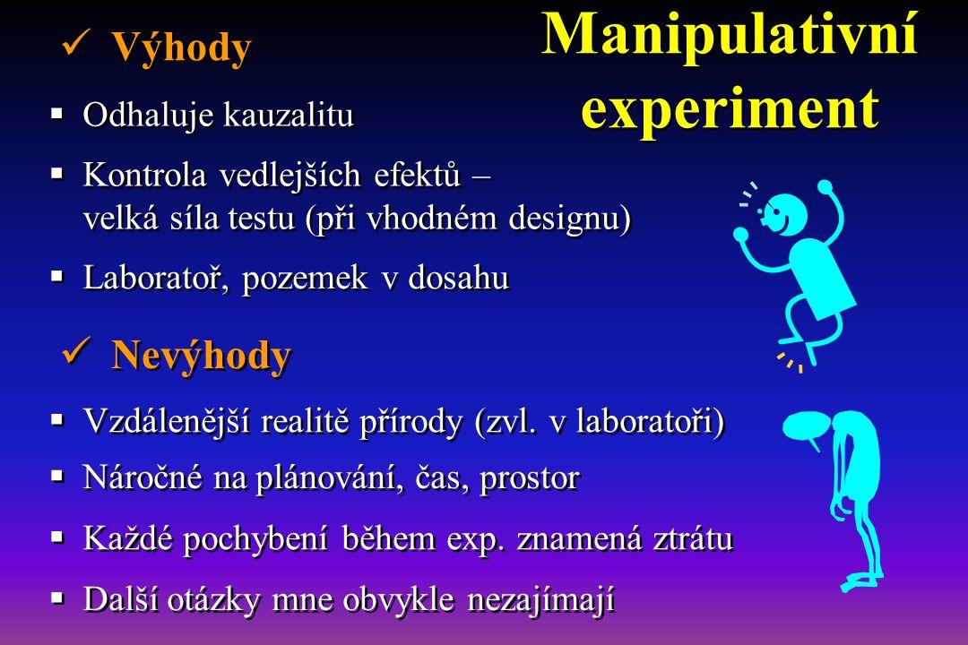 Manipulativní experiment  Odhaluje kauzalitu  Další otázky mne obvykle nezajímají  Náročné na plánování, čas, prostor  Kontrola vedlejších efektů – velká síla testu (při vhodném designu)  Každé pochybení během exp.