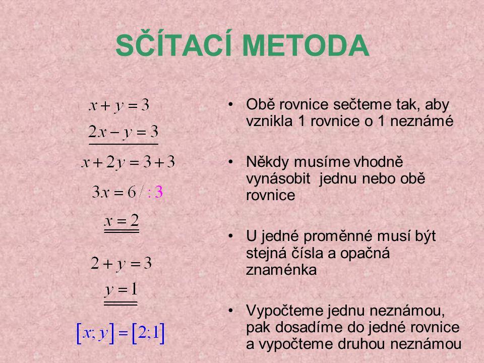 SČÍTACÍ METODA Obě rovnice sečteme tak, aby vznikla 1 rovnice o 1 neznámé Někdy musíme vhodně vynásobit jednu nebo obě rovnice U jedné proměnné musí b