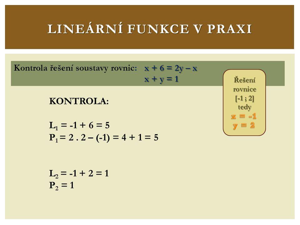 LINEÁRNÍ FUNKCE V PRAXI x + 6 = 2y – x Kontrola řešení soustavy rovnic: x + 6 = 2y – x x + y = 1 x + y = 1 KONTROLA: L 1 = -1 + 6 = 5 P 1 = 2.