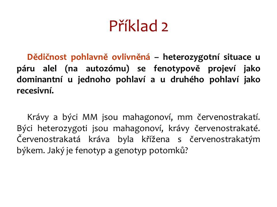 Příklad 2 Dědičnost pohlavně ovlivněná – heterozygotní situace u páru alel (na autozómu) se fenotypově projeví jako dominantní u jednoho pohlaví a u druhého pohlaví jako recesivní.