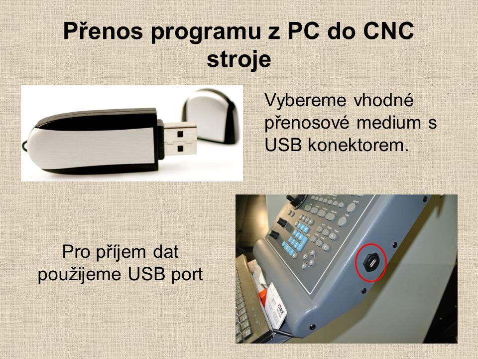Přenos programu z PC do CNC stroje 3 Vybereme vhodné přenosové medium s USB konektorem.