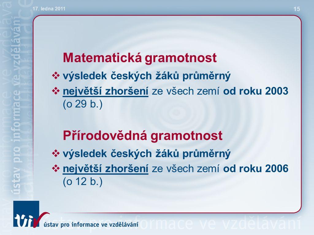 Matematická gramotnost  výsledek českých žáků průměrný  největší zhoršení ze všech zemí od roku 2003 (o 29 b.) Přírodovědná gramotnost  výsledek českých žáků průměrný  největší zhoršení ze všech zemí od roku 2006 (o 12 b.) 17.