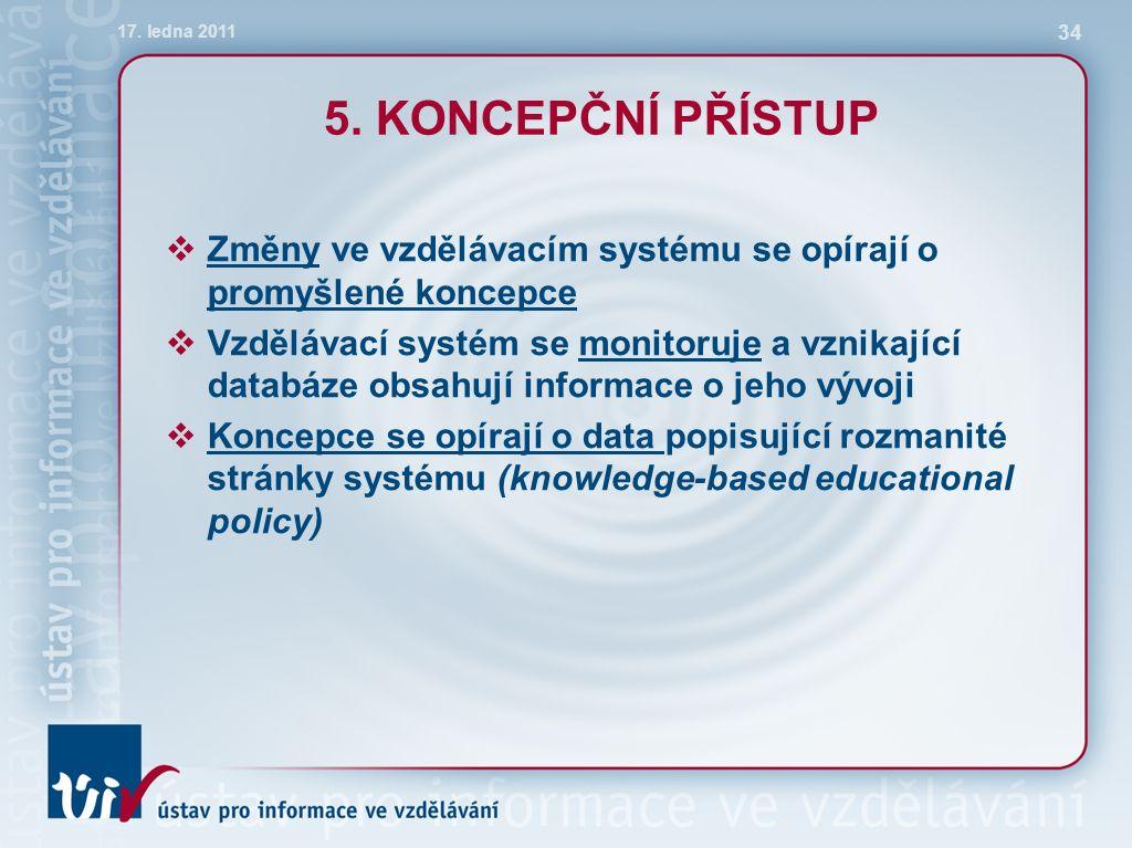 5. KONCEPČNÍ PŘÍSTUP  Změny ve vzdělávacím systému se opírají o promyšlené koncepce  Vzdělávací systém se monitoruje a vznikající databáze obsahují