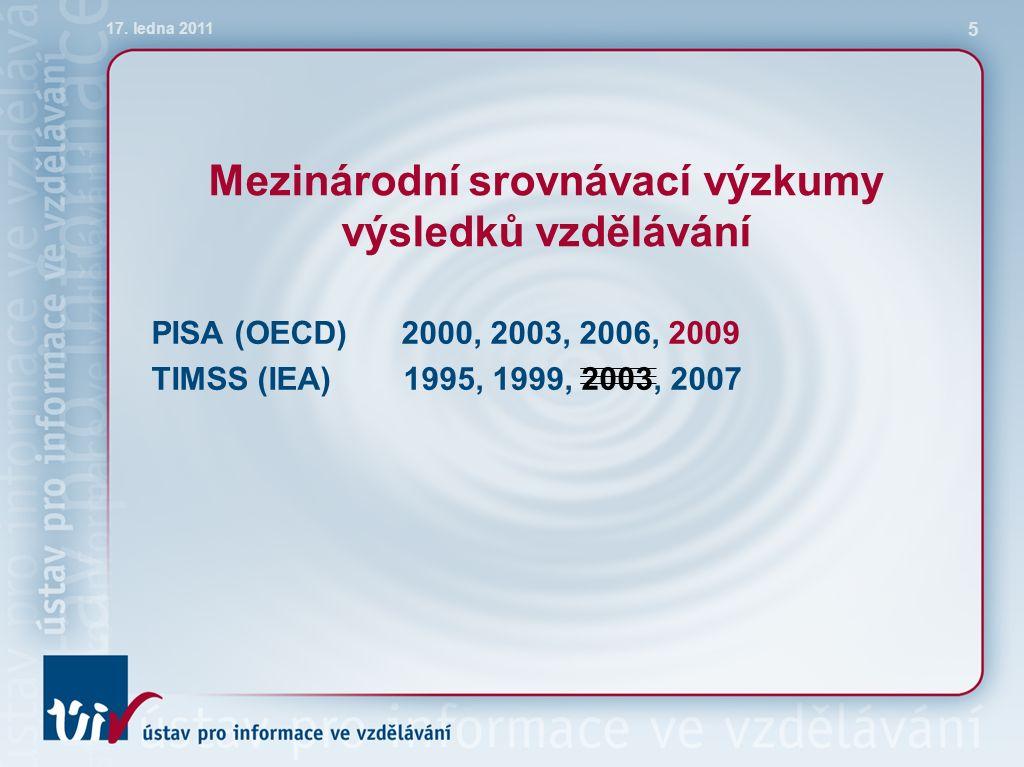Mezinárodní srovnávací výzkumy výsledků vzdělávání PISA (OECD) 2000, 2003, 2006, 2009 TIMSS (IEA) 1995, 1999, 2003, 2007 17.