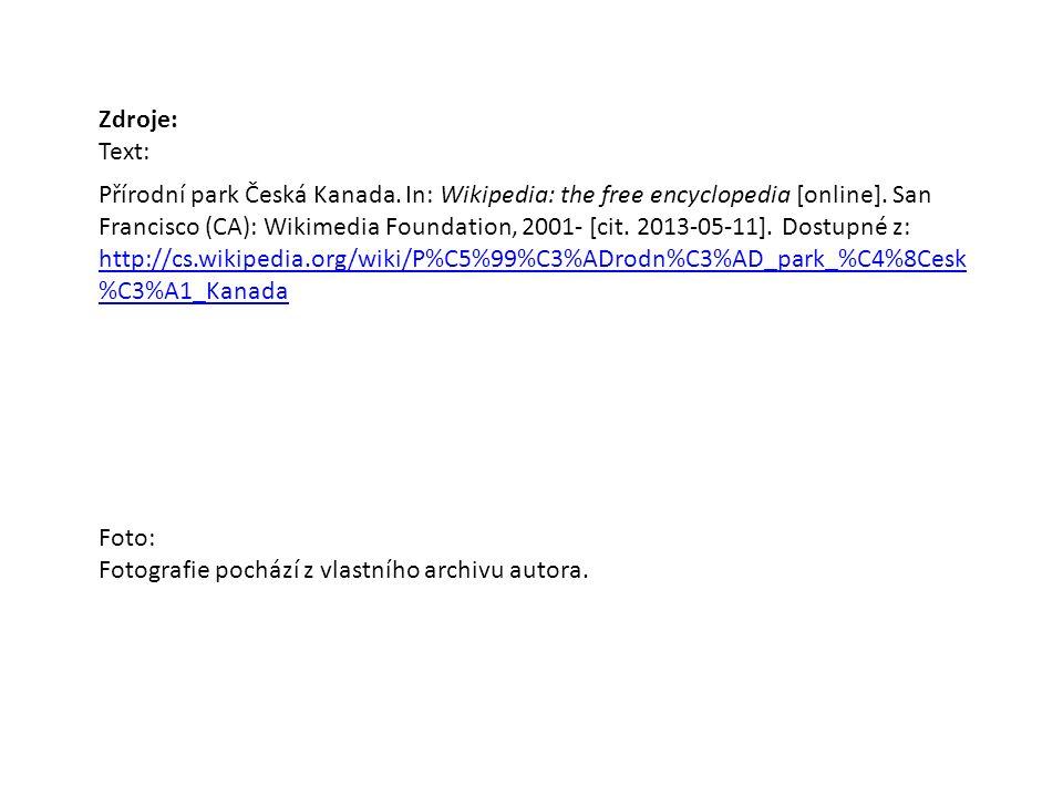 Zdroje: Text: Přírodní park Česká Kanada. In: Wikipedia: the free encyclopedia [online].