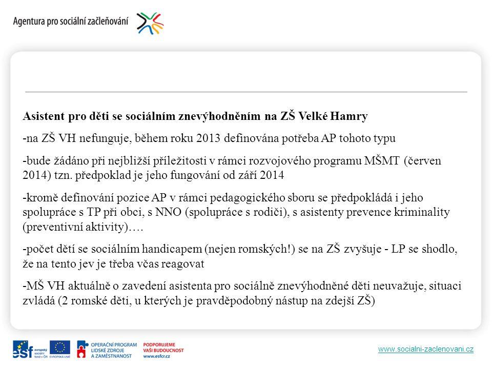 www.socialni-zaclenovani.cz Asistent pro děti se sociálním znevýhodněním na ZŠ Velké Hamry -na ZŠ VH nefunguje, během roku 2013 definována potřeba AP tohoto typu -bude žádáno při nejbližší příležitosti v rámci rozvojového programu MŠMT (červen 2014) tzn.