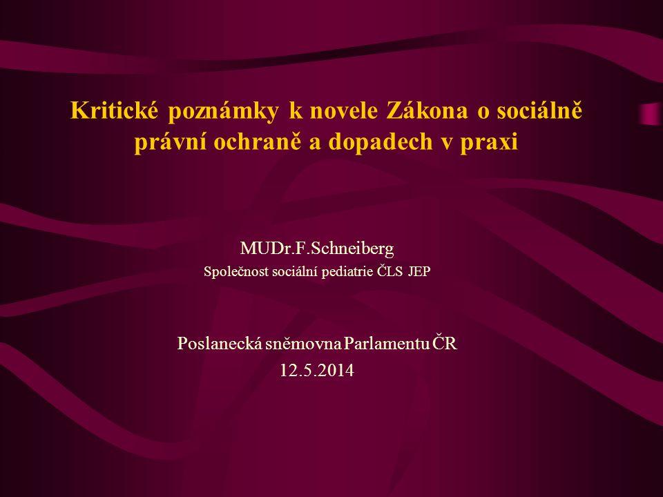Kritické poznámky k novele Zákona o sociálně právní ochraně a dopadech v praxi MUDr.F.Schneiberg Společnost sociální pediatrie ČLS JEP Poslanecká sněm