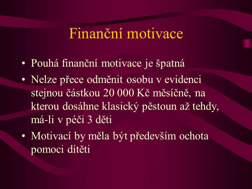 Finanční motivace Pouhá finanční motivace je špatná Nelze přece odměnit osobu v evidenci stejnou částkou 20 000 Kč měsíčně, na kterou dosáhne klasický