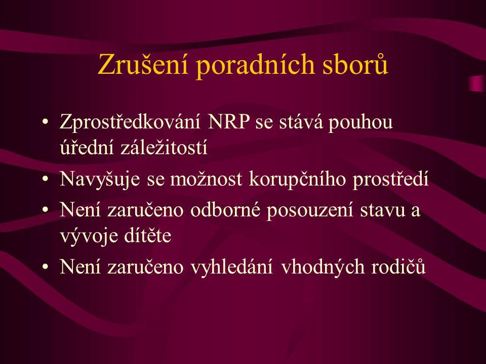 Zrušení poradních sborů Zprostředkování NRP se stává pouhou úřední záležitostí Navyšuje se možnost korupčního prostředí Není zaručeno odborné posouzen