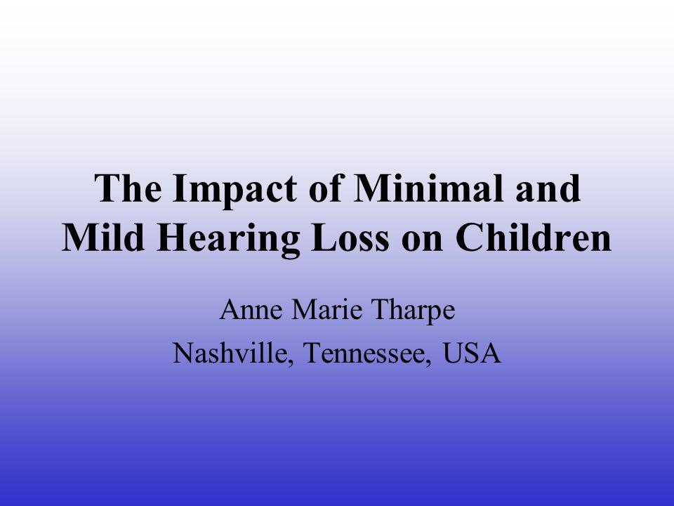 Současná definice Minimální sluchové ztráty Trvalá vada oboustranná = práh sluchu na fr.