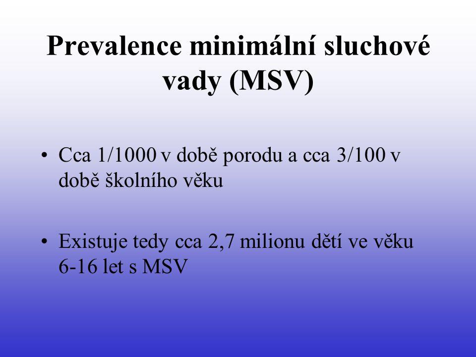 Prevalence minimální sluchové vady (MSV) Cca 1/1000 v době porodu a cca 3/100 v době školního věku Existuje tedy cca 2,7 milionu dětí ve věku 6-16 let s MSV