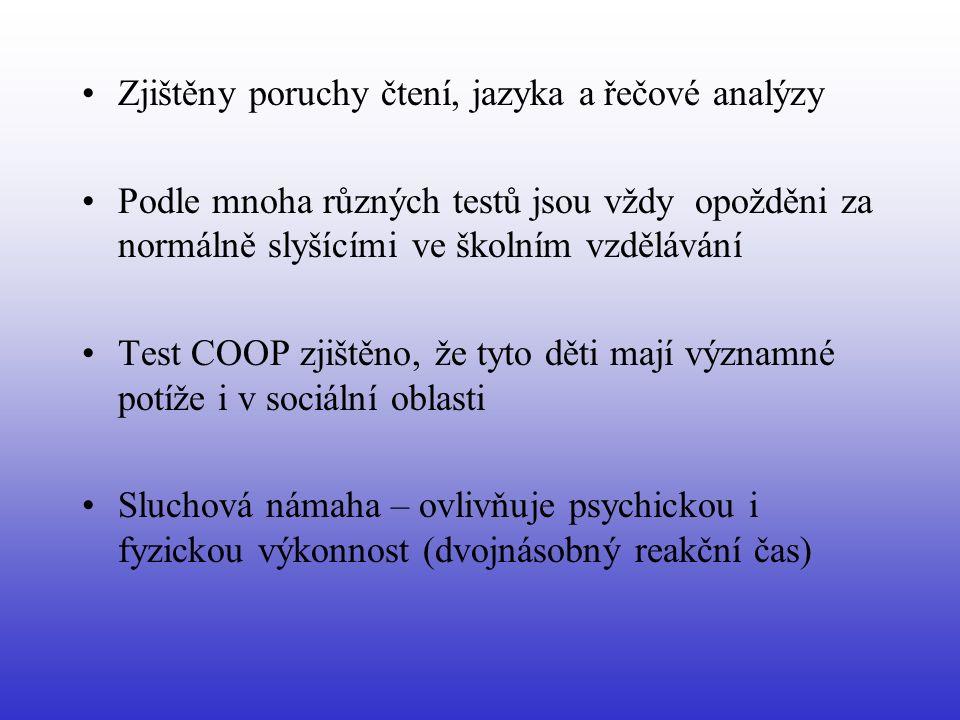 Zjištěny poruchy čtení, jazyka a řečové analýzy Podle mnoha různých testů jsou vždy opožděni za normálně slyšícími ve školním vzdělávání Test COOP zjištěno, že tyto děti mají významné potíže i v sociální oblasti Sluchová námaha – ovlivňuje psychickou i fyzickou výkonnost (dvojnásobný reakční čas)