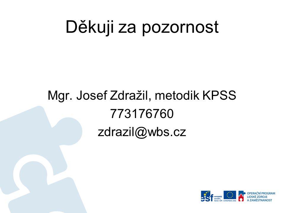 Děkuji za pozornost Mgr. Josef Zdražil, metodik KPSS 773176760 zdrazil@wbs.cz