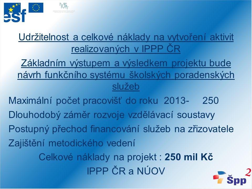 Udržitelnost a celkové náklady na vytvoření aktivit realizovaných v IPPP ČR Základním výstupem a výsledkem projektu bude návrh funkčního systému školských poradenských služeb Maximální počet pracovišť do roku 2013- 250 Dlouhodobý záměr rozvoje vzdělávací soustavy Postupný přechod financování služeb na zřizovatele Zajištění metodického vedení Celkové náklady na projekt : 250 mil Kč IPPP ČR a NÚOV