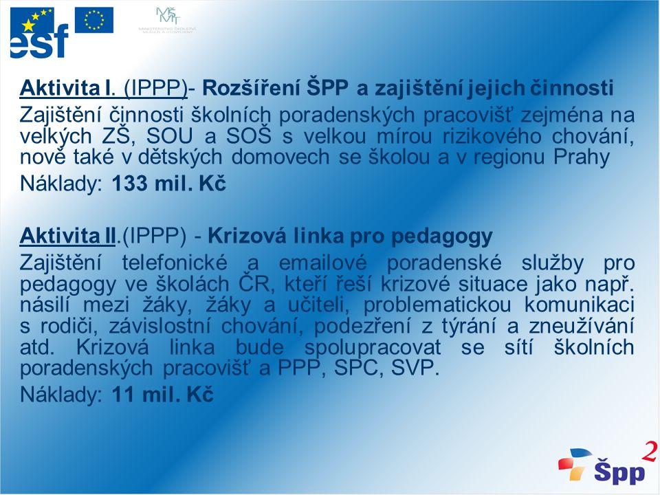 Aktivita III.(IPPP) - Metodické vedení Zajištění metodického dohledu, konzultací pro pracovníky ve školách - školní psychology, speciální pedagogy, výchovné poradce a školní metodiky prevence.
