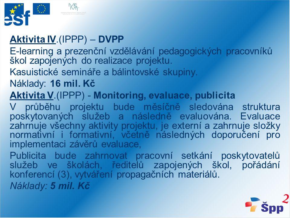 Aktivita IV.(IPPP) – DVPP E-learning a prezenční vzdělávání pedagogických pracovníků škol zapojených do realizace projektu.