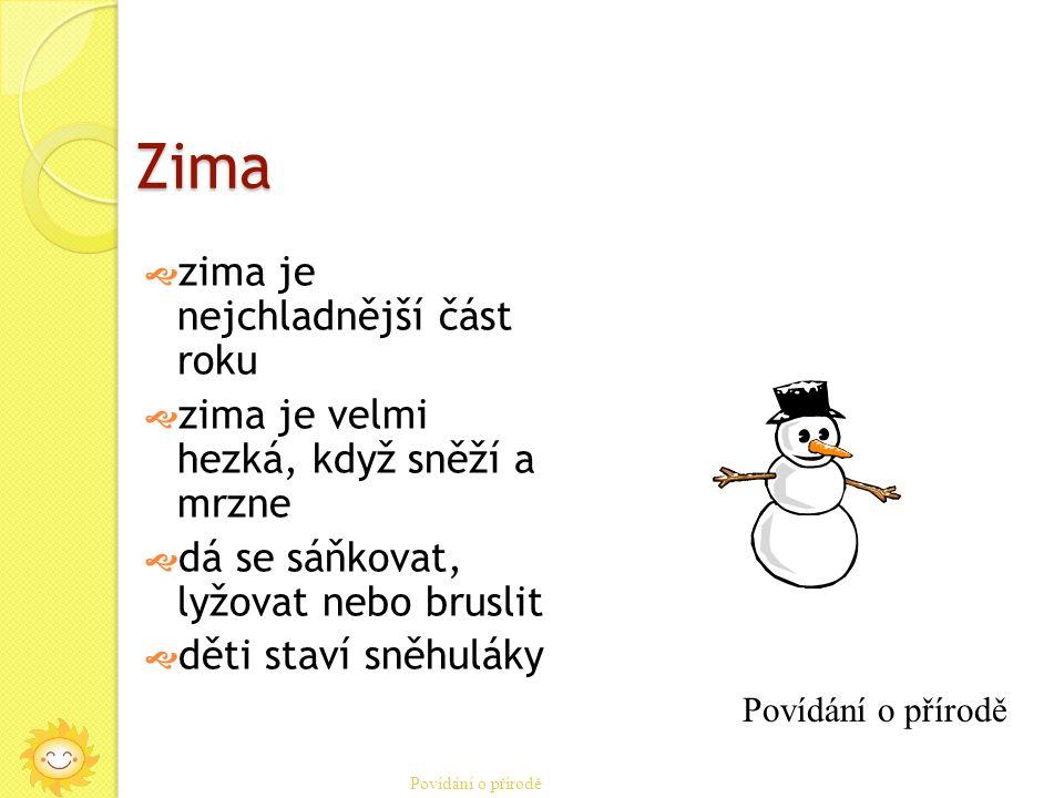 Zima  zima je nejchladnější část roku  zima je velmi hezká, když sněží a mrzne  dá se sáňkovat, lyžovat nebo bruslit  děti staví sněhuláky Povídání o přírodě
