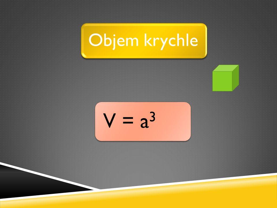 V = a 3 Objem krychle