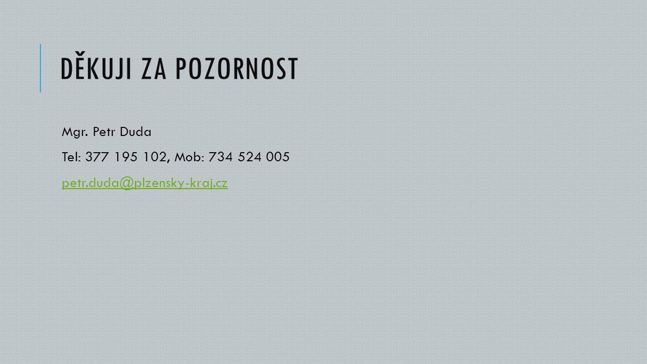 DĚKUJI ZA POZORNOST Mgr. Petr Duda Tel: 377 195 102, Mob: 734 524 005 petr.duda@plzensky-kraj.cz