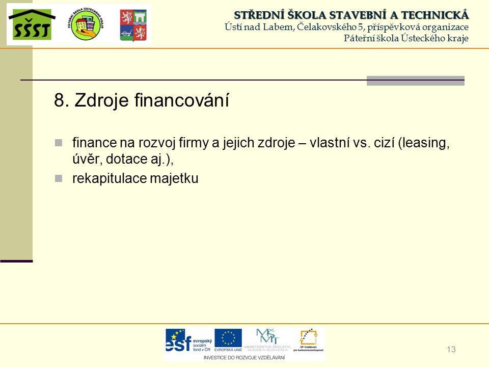13 8. Zdroje financování finance na rozvoj firmy a jejich zdroje – vlastní vs.