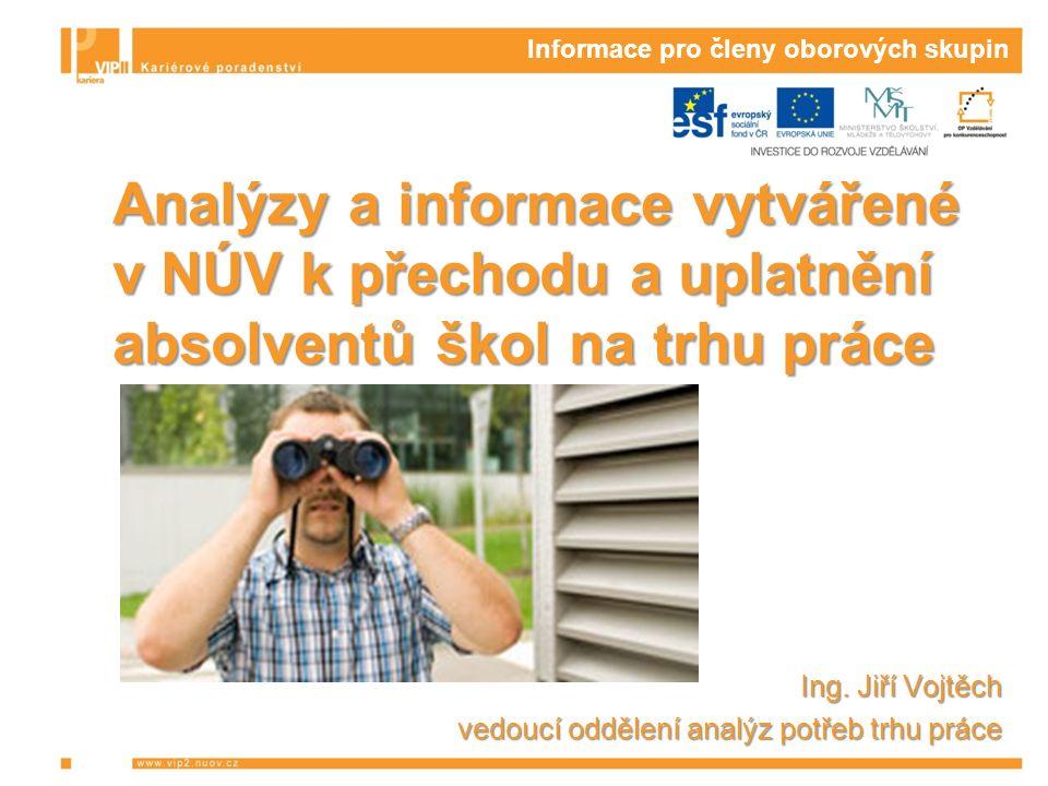 Informace pro členy oborových skupin Analýzy a informace vytvářené v NÚV k přechodu a uplatnění absolventů škol na trhu práce Ing.