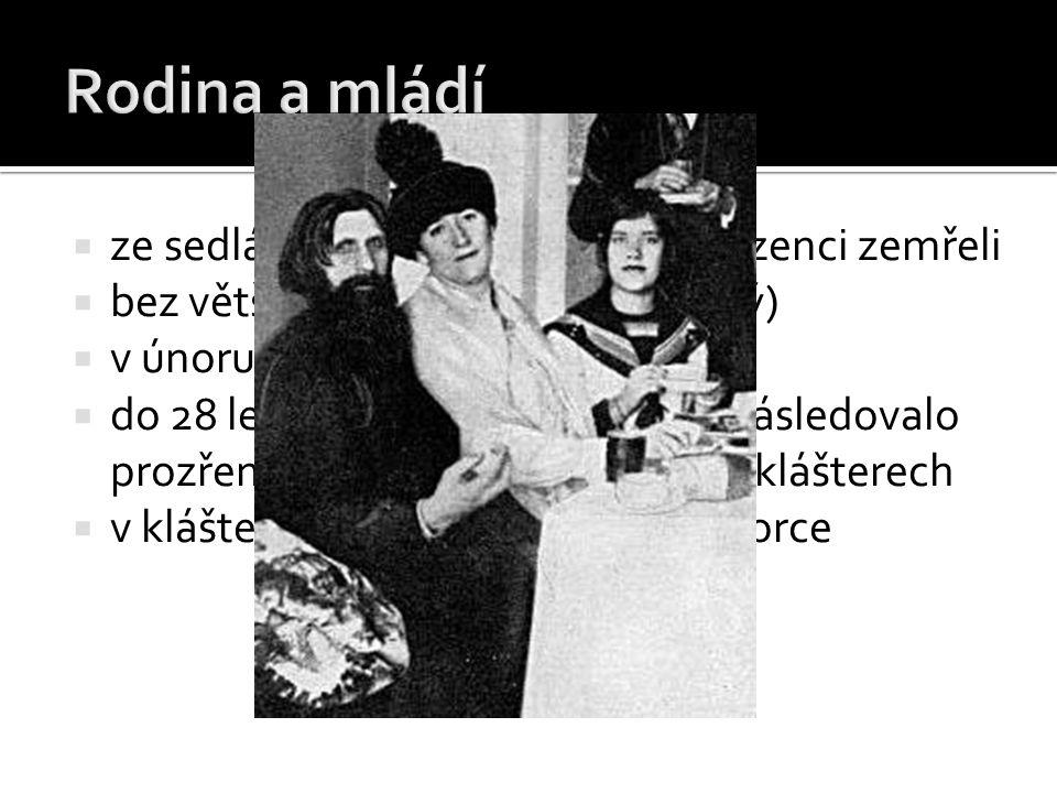  1903 příchod do Petrohradu  1905 spřátelení s carskou rodinou (Mikuláš II., Alexandra Fjodorovna)  1909 zlepšení stavu nemocného careviče Alexeje Nikolajeviče díky hypnózám a modlitbám → velmi oblíben, stává se rádcem rodiny  za 1.