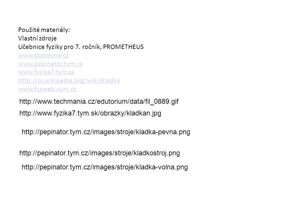 Použité materiály: Vlastní zdroje Učebnice fyziky pro 7. ročník, PROMETHEUS www.sborovna.cz www.pepinator.tym.cz www.fyzika7.tym.sk http://cs.wikipedi