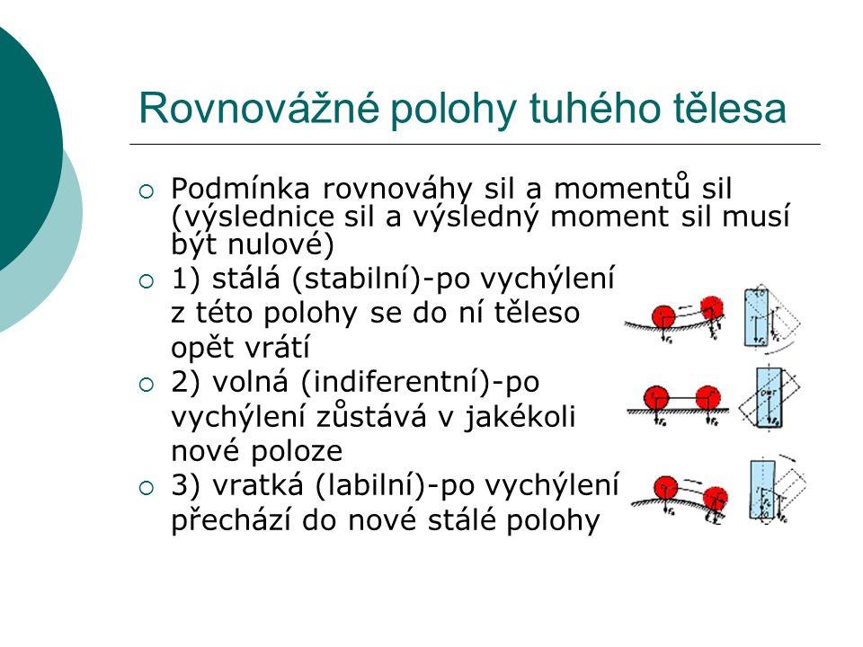 Rovnovážné polohy tuhého tělesa  Podmínka rovnováhy sil a momentů sil (výslednice sil a výsledný moment sil musí být nulové)  1) stálá (stabilní)-po vychýlení z této polohy se do ní těleso opět vrátí  2) volná (indiferentní)-po vychýlení zůstává v jakékoli nové poloze  3) vratká (labilní)-po vychýlení přechází do nové stálé polohy