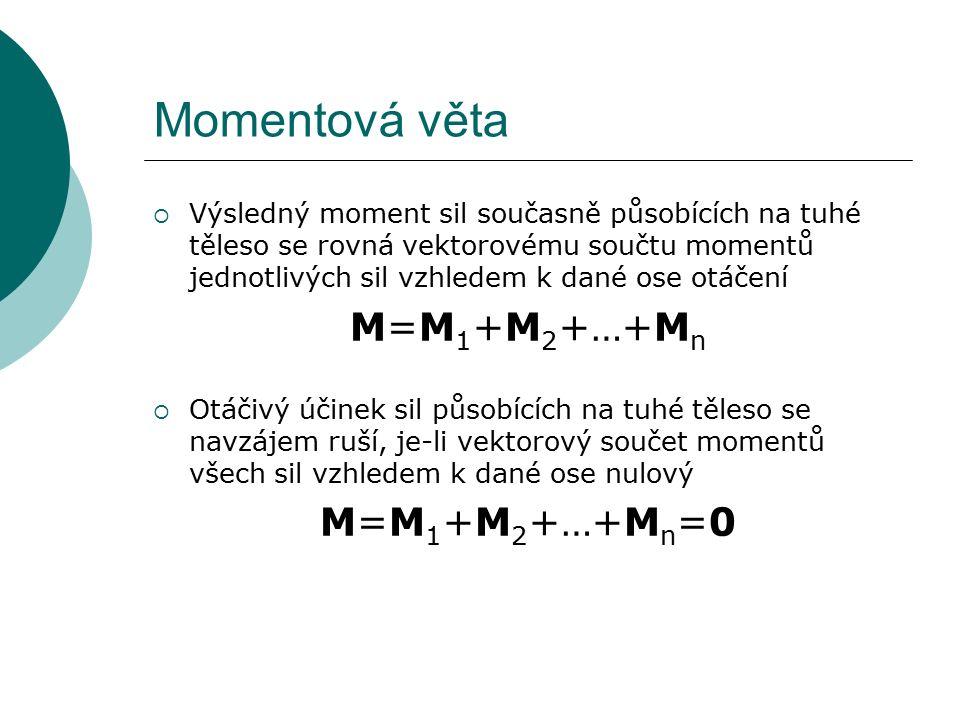 Momentová věta  Výsledný moment sil současně působících na tuhé těleso se rovná vektorovému součtu momentů jednotlivých sil vzhledem k dané ose otáčení M=M 1 +M 2 +…+M n  Otáčivý účinek sil působících na tuhé těleso se navzájem ruší, je-li vektorový součet momentů všech sil vzhledem k dané ose nulový M=M 1 +M 2 +…+M n =0
