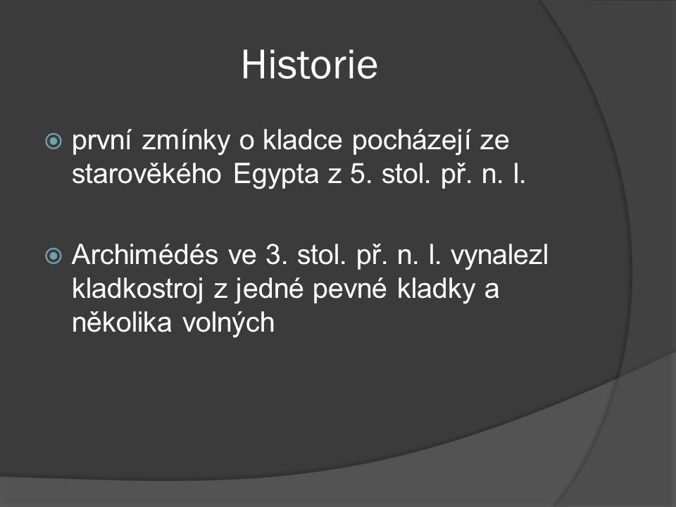 Historie  první zmínky o kladce pocházejí ze starověkého Egypta z 5. stol. př. n. l.  Archimédés ve 3. stol. př. n. l. vynalezl kladkostroj z jedné