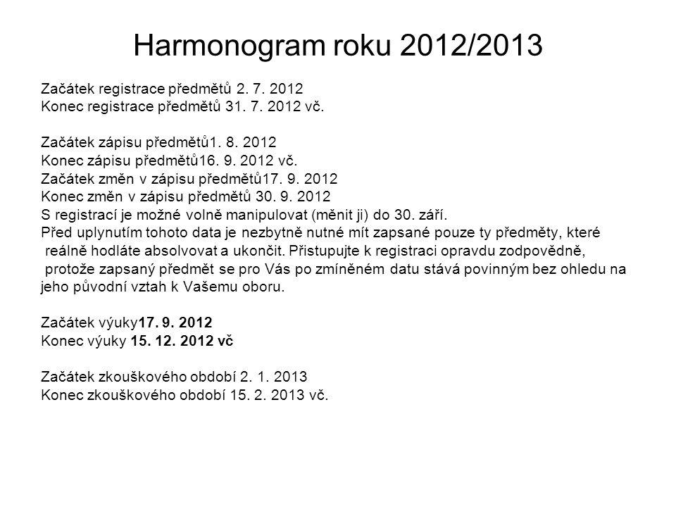 Harmonogram roku 2012/2013 Začátek registrace předmětů 2.
