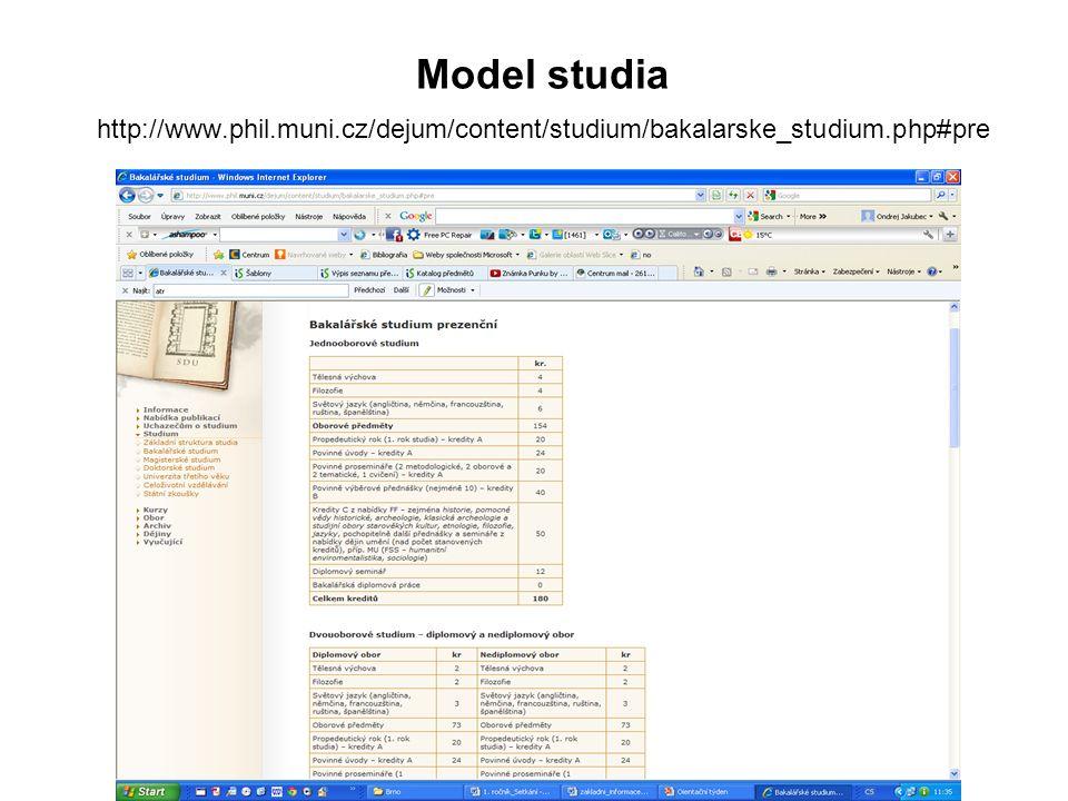 Model studia http://www.phil.muni.cz/dejum/content/studium/bakalarske_studium.php#pre