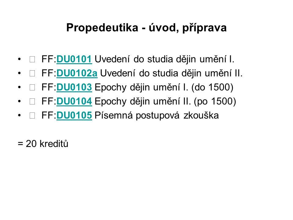 Propedeutika - úvod, příprava  FF:DU0101 Uvedení do studia dějin umění I.DU0101  FF:DU0102a Uvedení do studia dějin umění II.DU0102a  FF:DU0103 Epochy dějin umění I.