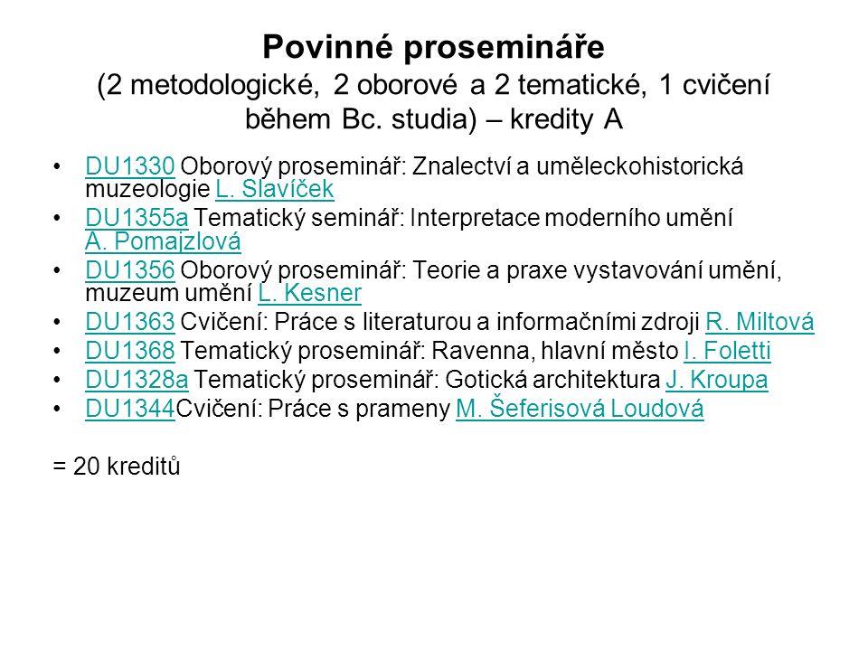 Povinné prosemináře (2 metodologické, 2 oborové a 2 tematické, 1 cvičení během Bc.
