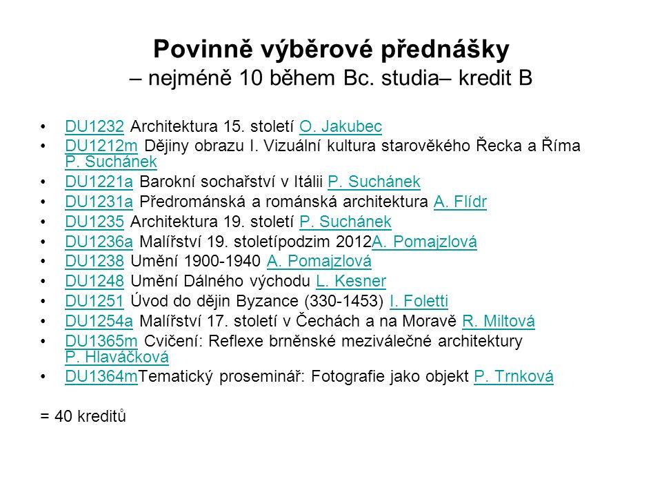 Povinně výběrové přednášky – nejméně 10 během Bc. studia– kredit B DU1232 Architektura 15.